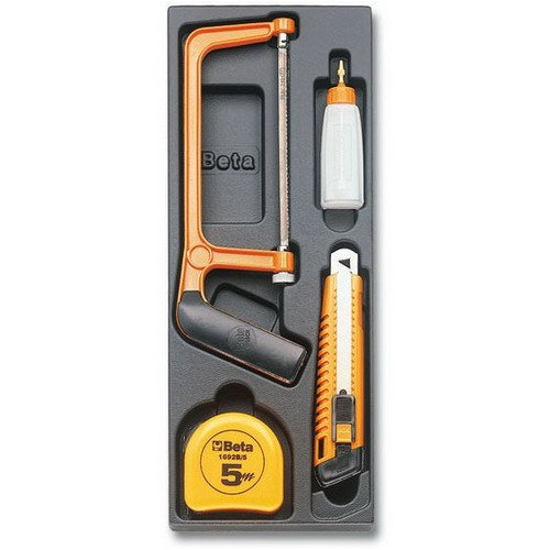 Beta 2424 T290 4 Piece Measuring Tape, Mini Hacksaw Frame, Plastic Oil Bottle And Utility Knife Assortment In Tray