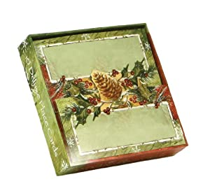 CR Gibson Holly And Pinecones Deluxe Place Cards, 10-Pack