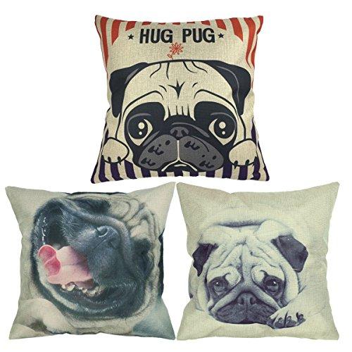 luxbon 3er set lovely hug mops hund leinen kissenbezug kissenh lle sofakissen pillowcase haus. Black Bedroom Furniture Sets. Home Design Ideas