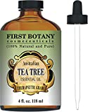 Tea Tree Oil (Australian) 4 Fl.oz. with Glass Dropper By First Botany Cosmeceuticals. 100 % Pure and Natural Premium Quality - A Classified Therapeutic Essential Oil- Legion Dermatological Benefits - Unadulterated, Concentrated Extract Natural Antiseptic - A Refined and Known Solution to Help in Fighting Dandruff, Acne, Toenail Fungus, Yeast Infections, Cold Sores and More...