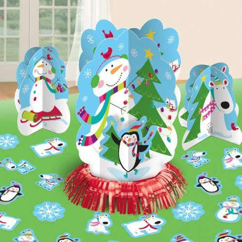 Amscan Joyful Snowman Christmas Table Decorating Kit