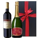 シャンパーニュ製法によるスパークリング クレマン・ド・ボルドー とサン・シニアンの赤ワインのギフトセット、750ml x 2