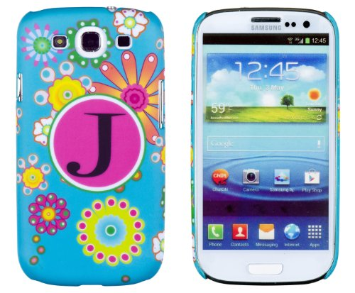 """Vintage Floral Monogrammed """" J """" Embossed Slim Fit Hard Case For Samsung Galaxy S3 (At&T, T-Mobile, Sprint, Verizon, Us Cellular, International) [Retail Packaging By Dandycase With Free Keychain Lcd Screen Cleaner] front-572556"""