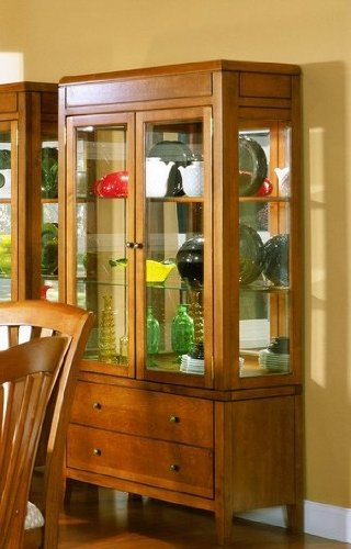 Cheap Tiburon Collection Solid Hardwood Curio China Cabinet (VF_HE783-50)