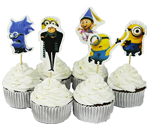 BETOP HOUSE Set of 24 Pieces Cute Despicable Me Minion Theme Party Decorative Cupcake Topper for Kids Birthday Party Baby Shower (Minion Baby Shower compare prices)