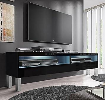 Design Ameublement - Meuble TV modèle Tobic avec pieds (160 cm) noir
