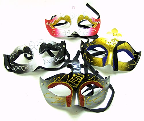 One Plastic Mardi Gras Masks With Jewel - Color will vary