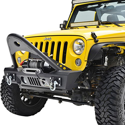 E-Autogrilles-07-17-Jeep-Wrangler-JK-Black-Textured-Stinger-Front-Bumper-with-OE-Fog-Lights-Housing-and-Winch-Plate-51-0366