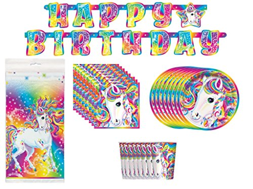 Lisa Frank Majesty Birthday Party Supplies Bundle Pack for 8; Banner, Table Cover, Plates, Napkins, & Cups