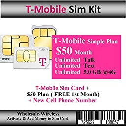 Activate-In 15 Mins T-Mobile Sim Card + $50 Plan 5GB Web ( Free 1st Month)