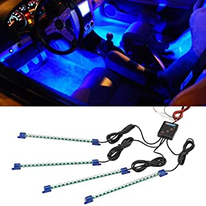 Amazon.com: 4pc. Blue LED Interior Underdash Lighting Kit