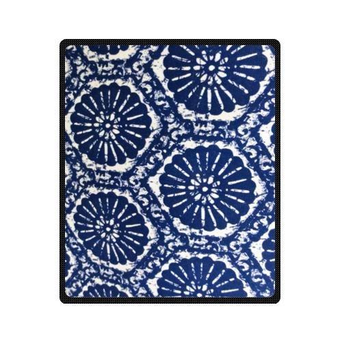 Unique Blue Batik Fabric Design Custom Fleece Blanket 50 X 60 (Medium)