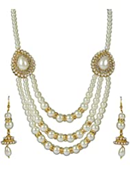Spangel Fashion White Pearl Haar Necklace Set- For Women And Girls
