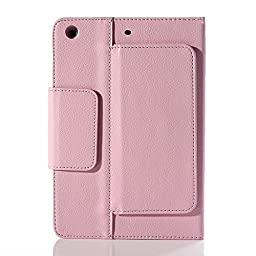 Henxlco Wireless Bluetooth Keyboard Stand Leather Case Cover For iPad Mini Retina 2 3 4 (pink)