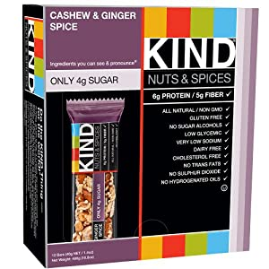 KIND Nuts & Spices, Cashew & Ginger Spice, 1.4oz, 12-Count Bars