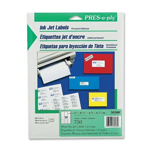 Pres-A-Ply Inkjet Address Labels, 1 X 2.625 Inches, White, Box Of 750 (30580)