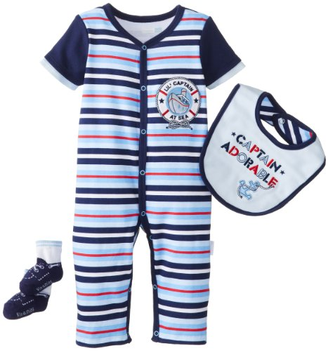 Vitamins Baby Baby-Boys Newborn Captain Adorable Pack Coverall Set, Blue, 9 Months