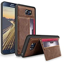 buy Galaxy Note 5 Case, Cellularvilla [Slim Fit] Premium Pu Leather Wallet Back Case [Shockproof] Credit Card Slots With Stand Feature Protective Shell Cover For Samsung Galaxy Note 5 (Dark Brown Black)