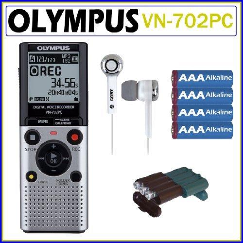 Olympus VN-702PC 2GB Digital Voice Recorder + Earbud Headphones + 4 AAA Batteries + Battery Case