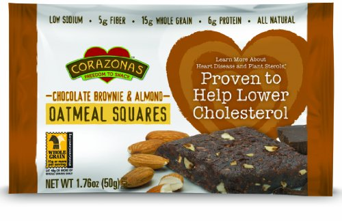 Corazonas Oatmeal Squares, Chocolate Brownie & Almond, 1.76-Ounce Bars (Pack of 12)