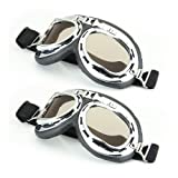 2pcs Lunettes Goggle Eyewear Glasses de Protection Miroir Fauve Moto Cross