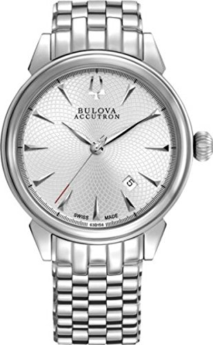 Sale Bulova Accutron #63B156 Men's Gemini Swiss Made Stainless Steel Silver Dial Automatic Watch