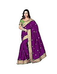 EthnicCrush Purple & Green Bhagalpuri Silk & Dupian Saree