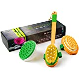 Cellulite Massager and Remover Brush Mitt Set - Anti Cellulite Massager, 100% Boar Bristle Dry Brush and Cellulite Brush - Get Rid Of Cellulite & Stretch Marks Naturally - Perfect As A Gift
