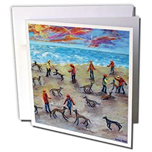 3dRose 8 x 8 x 0.25 Inches Greeting Cards, Set of 6, Greyhounds at Sunrise (gc_66351_1)