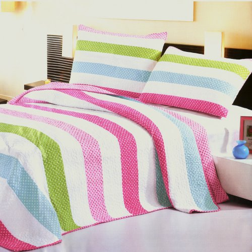 [Colorful Strip] Cotton 3PC Vermicelli-Quilted Striped Printed Quilt Set (Full/Queen Size)