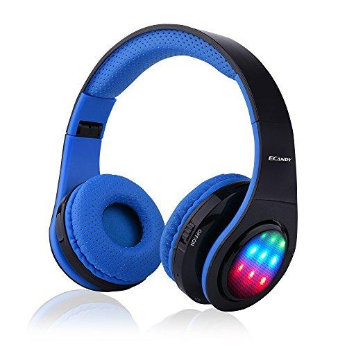 Ecandy ステレオ音楽折りたたみ式オーバーイヤーBluetoothヘッドフォ 3 LEDライトモード搭載 ワイヤレスヘッドセット内臓マイクハンズフリー通話 (ブルー)