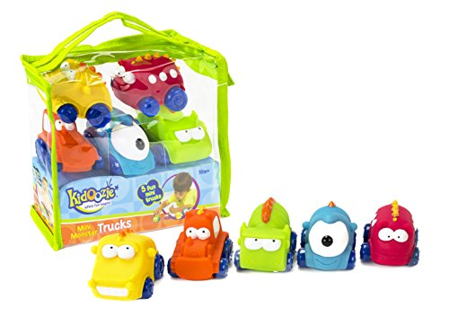 Kidoozie Mini Monster Trucks - Teaches Beneficial Roleplay and Employs Tactile Engagement - Includes Yellow, Orange, Blue, Green, and Red Trucks with Varying Facial Expressions - For Ages 18 Months and Up - 1