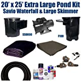 "20 x 25 Extra Large Koi Pond Kit 6,100 GPH Pump Savio Regular Skimmer With 16"" Faceplate & 22"" Savio Livingponds Waterfall XLS8"