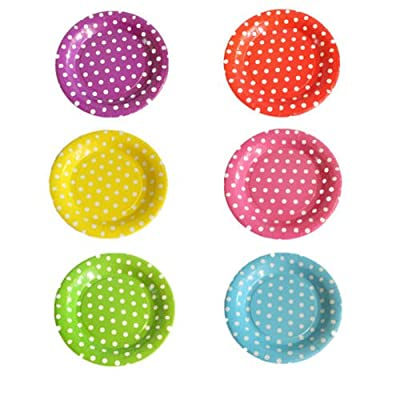 10 Pcs Disposable Dinner Plates Disposable Colored Polka Dots Round Paper Plate Dishes Food Trays,Wedding Disposable Plates