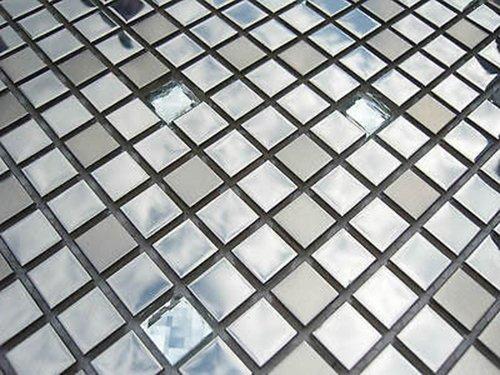 FLIESENTOPSHOP Glasmosaik Edelstahlmosaik Mosaik Metall Metalleffekt Fliese silber Dusche 1A