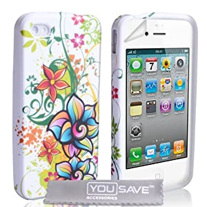 iPhone 4 / 4S Floral Rainbow Silicone Case