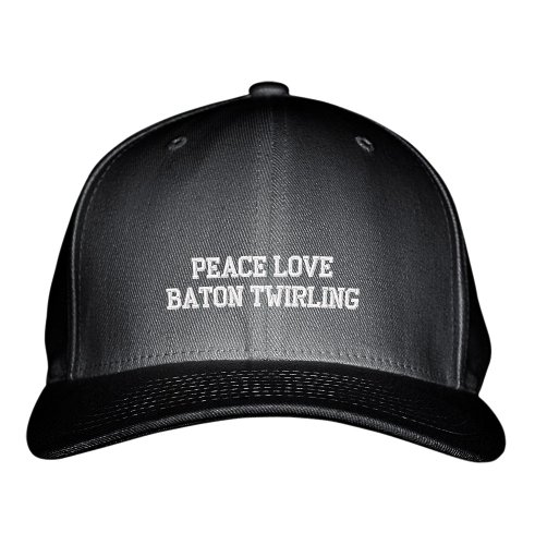 Peace Love Baton Twirling Sport Embroidered Adjustable Structured Hat Cap Black