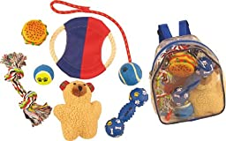 PET LIFE Backpack Pet Toy Set, Red and Blue
