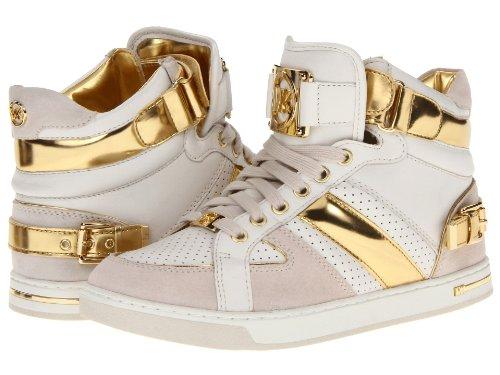 MICHAEL Michael Kors Women's Fulton Mirror Metallic & Leather High-Top Sneakers (Gold) (9 M US Women)