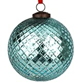EarthenMetal Handcrafted Blue Coloured Christmas Decoratives / Glass Hanging Ball-5inch
