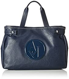 Armani Jeans Eco Leather Stud East West Tote Bag, Blue, One Size