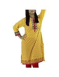 Fashion Freaks Yellow Cotton Embroidered Round Neck Kurti - B00R7O7NGG