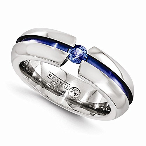 Edward Mirell Titanium Tension Set Blue Sapphire And Blue Anodized 6Mm Wedding Band - Size 10