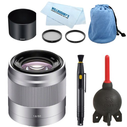 Sony SEL50F18 50mm f/1.8 + Deluxe Carrying Case + Sony Lens Hood + Professional Multi-Coated 2pc Essential Filter Kit