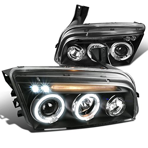 Spec-D Tuning LHP-CHG05JM-TM Dodge Charger Halo Led Projector Head Lights Black (Halo Headlights Dodge Charger compare prices)