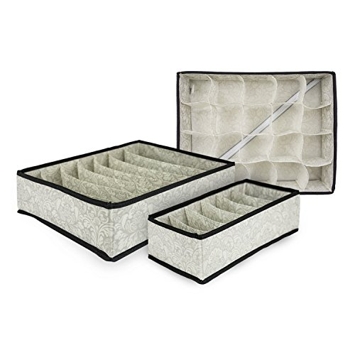 DII Breathable Non-Woven Soft Storage Assorted Foldable Drawer Dividers For Organizing Bras, Underwear, Socks, & More, Includes 3 Sizes - Damask (Foldable Drawer Storage Unit compare prices)