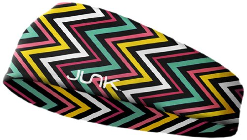 JUNK Brands Fitness Headband, Chevron Shock, Small/Medium