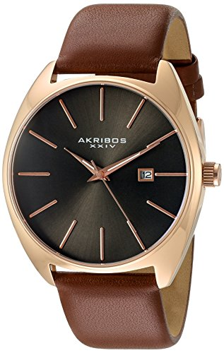 Akribos-XXIV-Mens-Rose-Tone-Case-with-Rose-Tone-Accented-Gray-Dial-on-Brown-Genuine-Leather-Strap-Watch-AK945RGBR