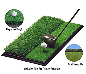 1'X2' Dual-surface Golf Swing Hitting Mat with a Rubber Tee Golf Practicing Training Mat Aids