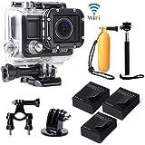 XCSOURCE® Full HD WiFi 14MP 1080p Fotocamera de Acción Cámara Action Camera Impermeabile de Bicicleta Casco Vídeo de Doporte + 3 Batería + Accesorios Kit LF605